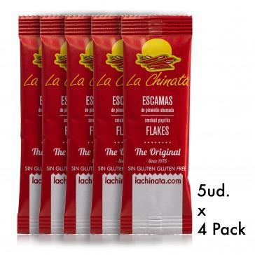 """4 Packs de 5 monodosis 1g Escamas de Pimentón Ahumado """"La Chinata"""" Dulce"""