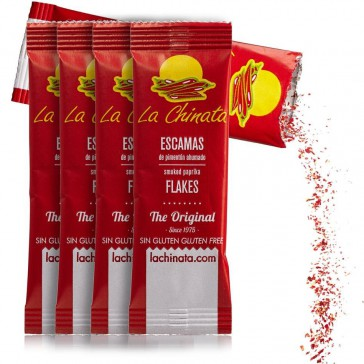 """Pack 5 monodosis 1g Escamas de Pimentón Ahumado """"La Chinata"""" Dulce"""