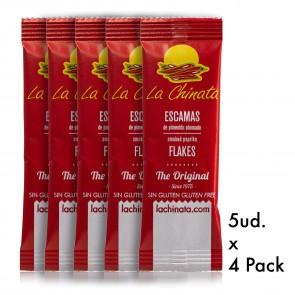 """4 Paquet de 5 doses uniques flocons de paprika fumé 1 g """"La Chinata"""" Doux"""