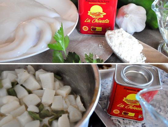 Elaboración Panzuelitas de sepia con pimientos y gelatina de Pimentón La Chinata
