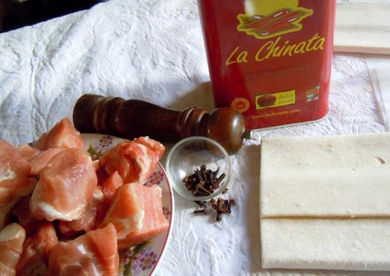 Ingredientes Espirales de Carne a La Chinata